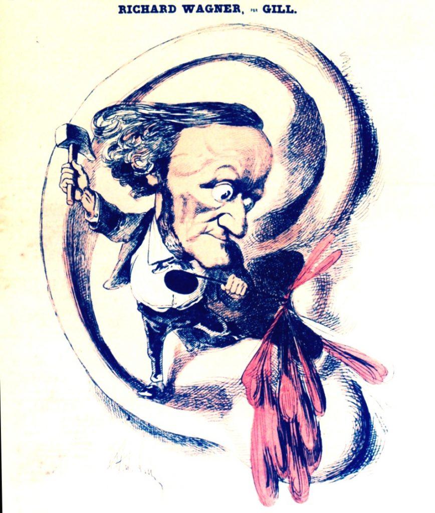 portrait charge de Wagner par André Gill (1889)